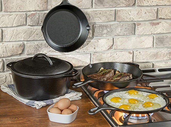 lodge 5pc cast iron cookware set